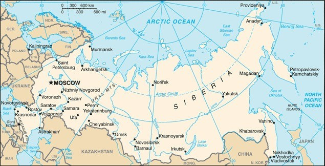 Map showing the location of Russia.  Map: CIA, public domain.