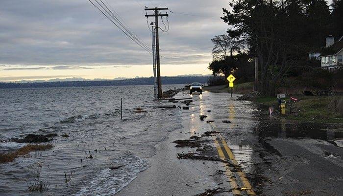 High tide flooding in Port Orchard, Washington, on Jan. 6, 2010. (Ray Garrido, courtesy of Washington Department of Ecology)
