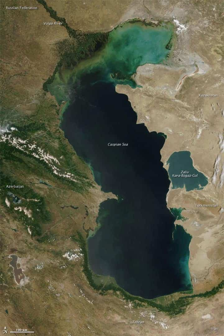 The Moderate Resolution Imaging Spectroradiometer (MODIS) on NASA's Terra satellite captured this natural-color image of the Caspian Sea on June 4, 2010