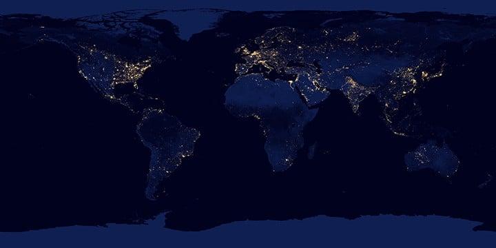 NASA's Night Lights 2012 Map. Source: NASA, public domain.