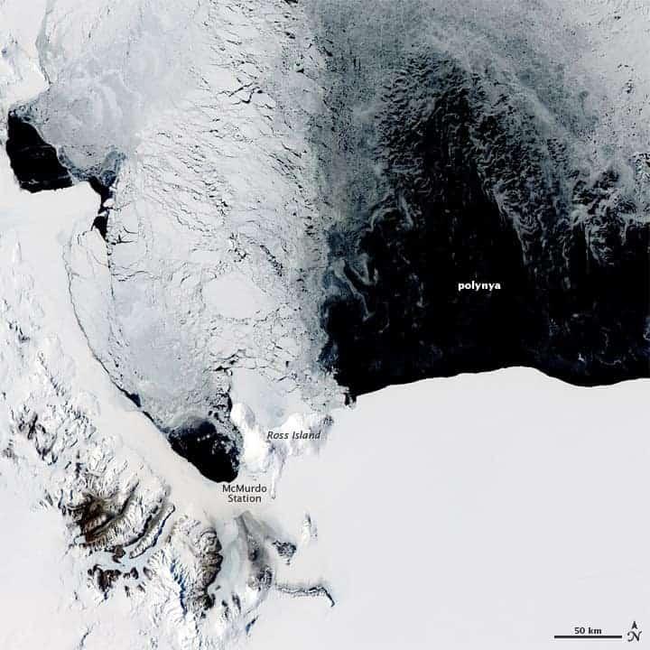 Polynya off the coast of Antarctica, near Ross Island.  Image: NASA, November 16, 2011.