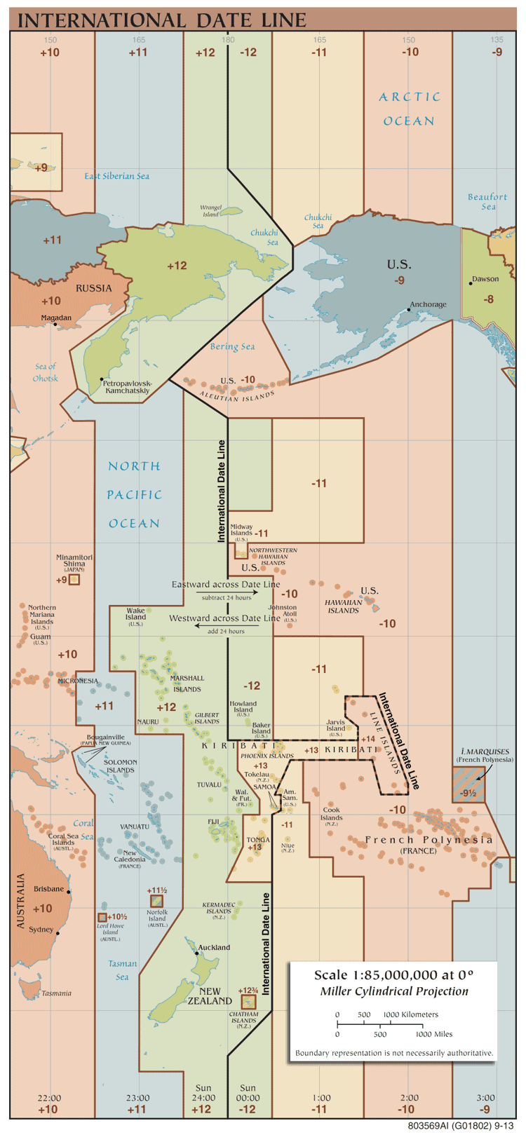 Map showing the International Date Line.  Source: Jailbird, GNU Free Documentation License, Wiki Commons, 2014.