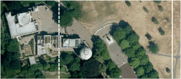 "The Airy meridian marked as the ""Prime Meridian of the World"" (dotted line), and the modern reference meridian indicating zero longitude using GPS (solid line). (Imagery © 2014 Google Maps, Infoterra Ltd. & Bluesky)"