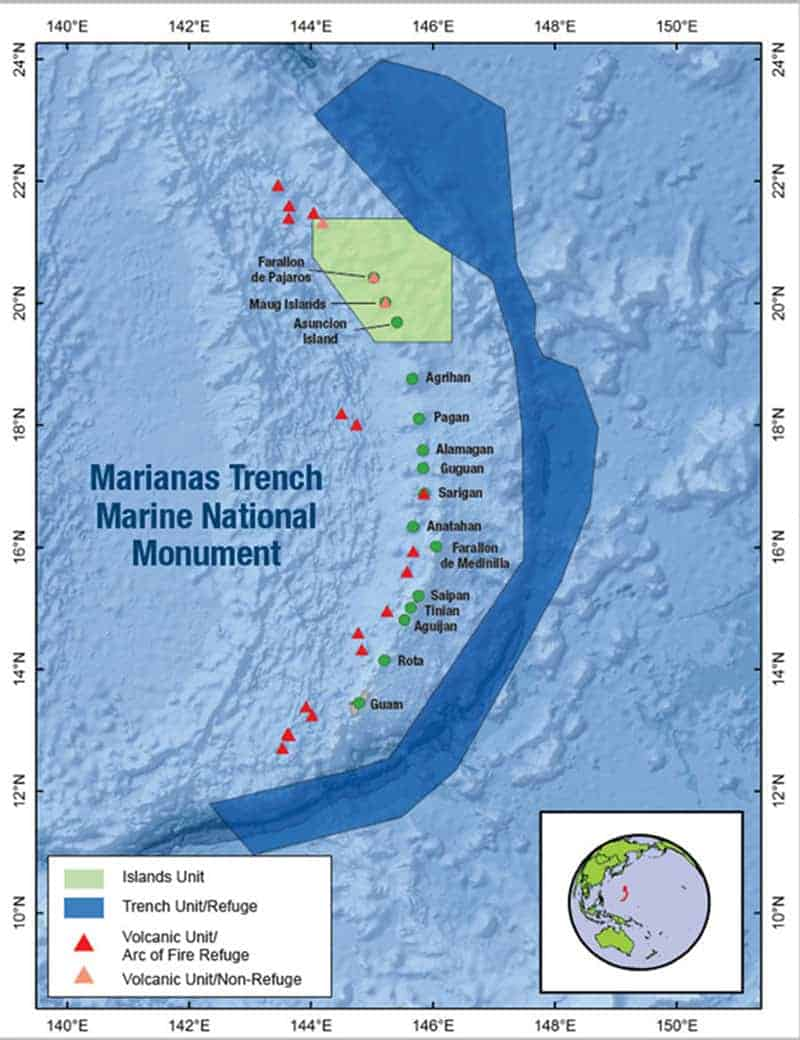 Map showing the  Marianas Trench Marine National Monument. The green points denote islands. Map courtesy of the Marianas Trench Marine National Monument.