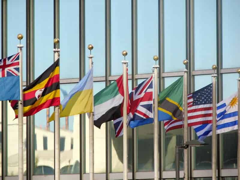 Flags representing member countries fly in front of United Nations Headquarters in New York. Photo: USAID, public domain