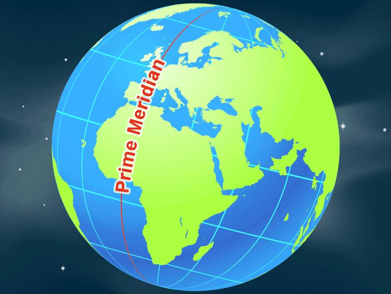 Le méridien d'origine divise le monde en hémisphères oriental et occidental. Image : NASA, domaine public.