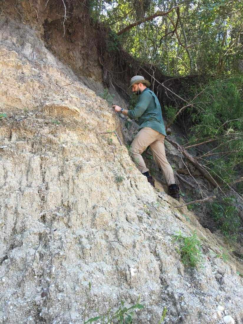 "A lithologist, Dr. Robert Poirier, studies outcrops of the ""Canepatch"" and ""Socastee"" formations along the Intra-Coastal Waterway, near Myrtle Beach to study past records of sea level. Photo: Laura Gemery, USGS. Public domain."