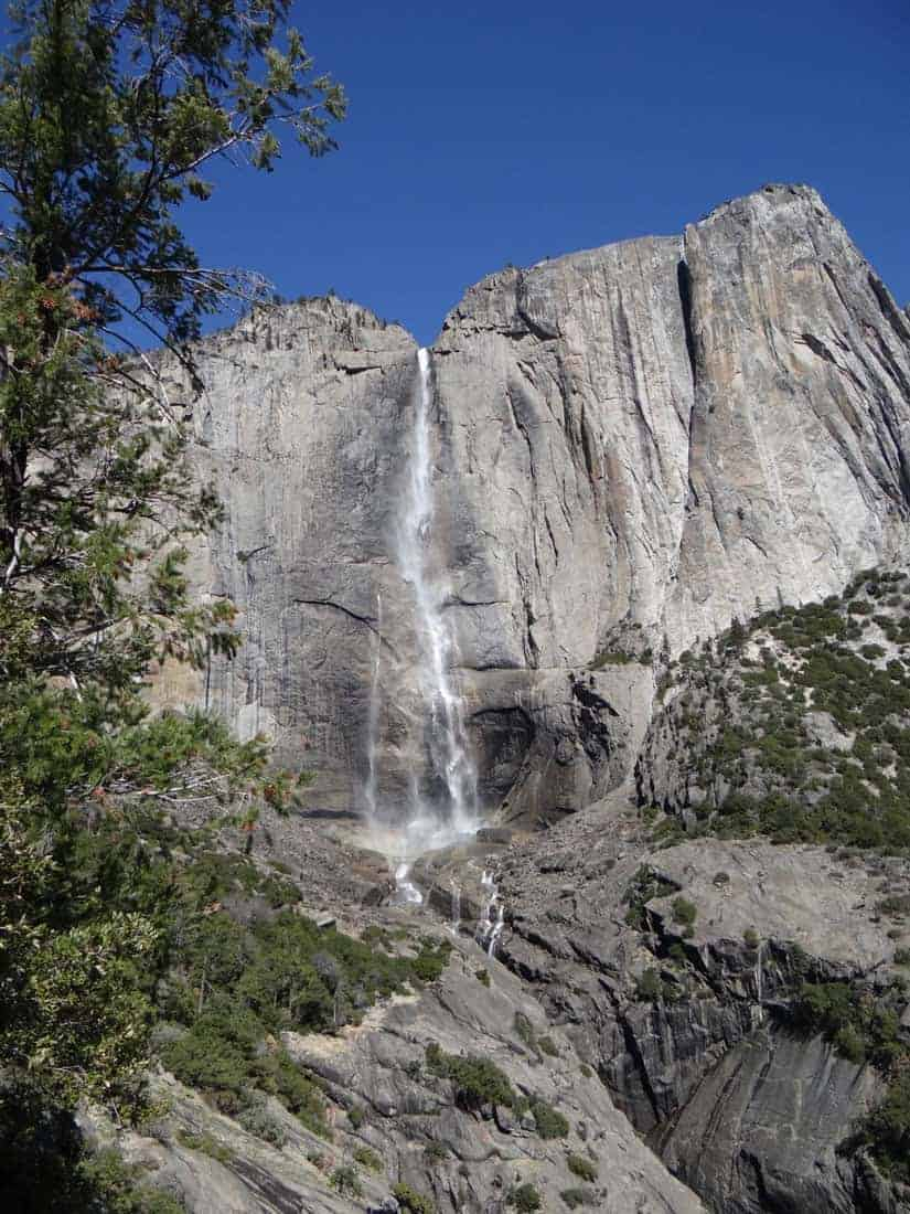 National Parks like Yosemite offer stunning views. Upper Yosemite Falls has a total plunge of 1,430 ft (440 m). Yosemite Falls is one of the most famous waterfalls within Yosemite National Park. Photo: Alex Demas, USGS. Public domain.
