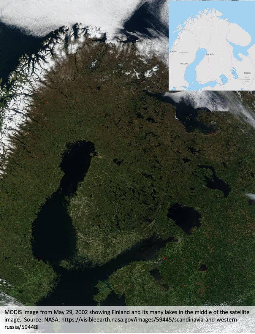 MODIS image from May 29, 2002 showing Finland and its many lakes in the middle of the satellite image.  Source: NASA, public domain.