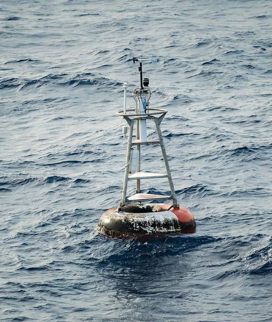A weather buoy can be found at the location of 0 degrees latitude, 0 degrees longitude. Photo: Graham Curran, CC BY 4.0, MediaWiki Commons.