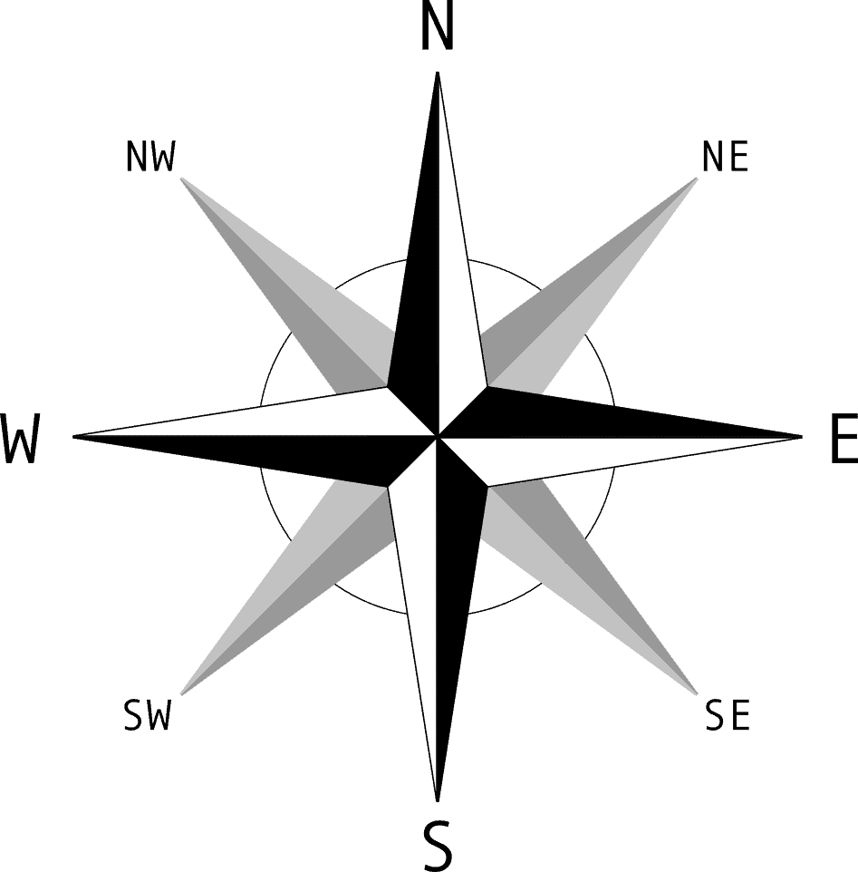 This compass rose shows ordinal and cardinal directions.