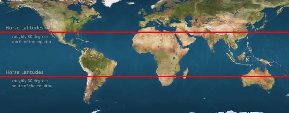 Map showing the location of horse latitudes.  Map: NOAA, public domain.