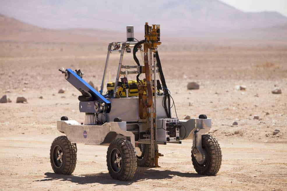 NASA's Atacama Rover Astrobiology Drilling Studies, or ARADS, was tested in the Atacama Desert in preparation for a life-seeking mission to Mars.  Photo: NASA/CampoAlto/V. Robles, public domain.