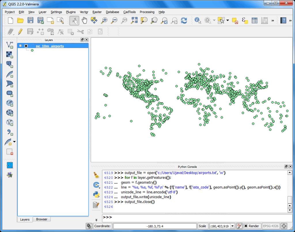 Screenshot of QGIS showing Python programming.