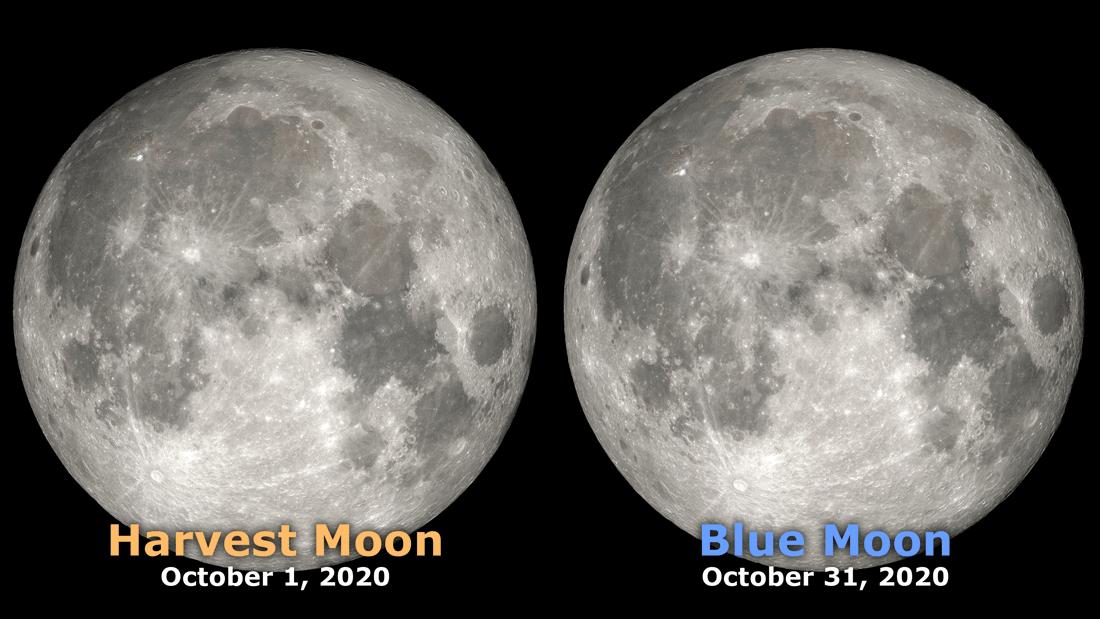 October 2020 will see two full moons. Image: NASA, public domain.