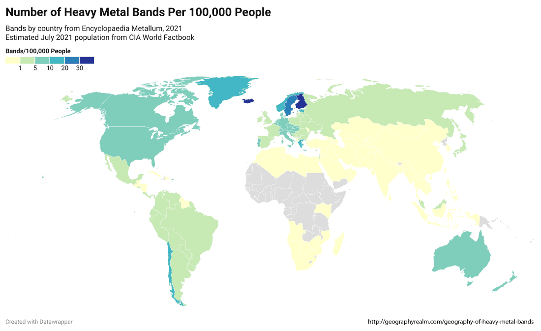 World map showing the number of heavy metal bands per 100,000 people by country.
