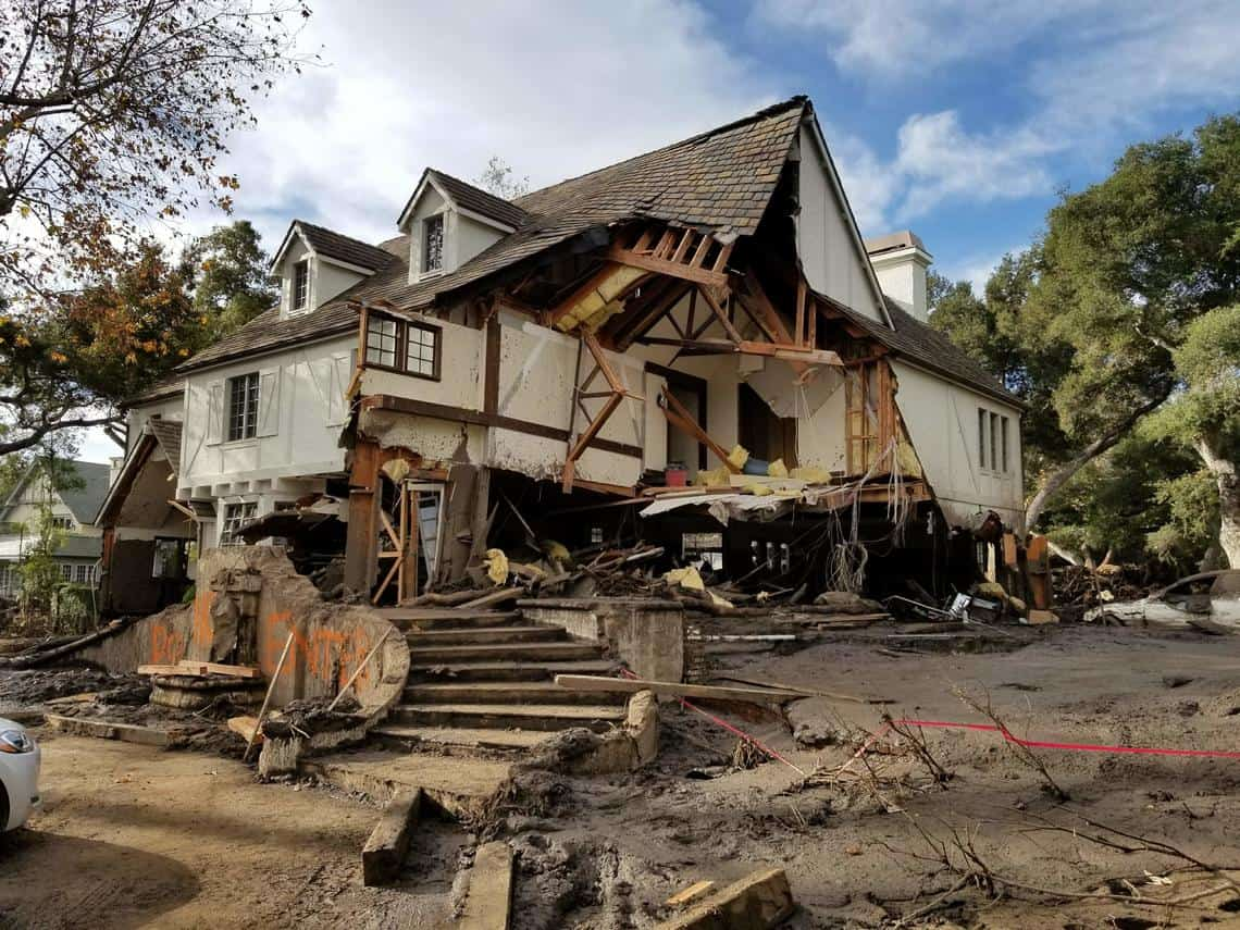 Damage from a major post-wildfire landslide that occurred on 9 January 2018 near Montecito, Santa Barbara County as a result of the 2017 Thomas Fire. Photo: Jason Kean, USGS. Public domain.
