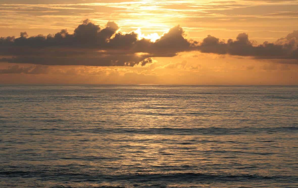 Atlantic Ocean sunrise as seen from a Florida beach. Photo: Randolph Femmer, USGS. Public domain