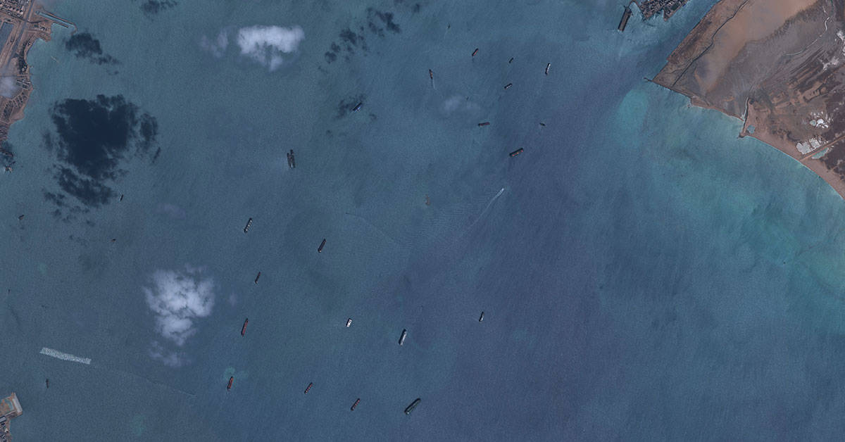 Further upstream from the Ever Given's location are ships waiting to enter the Suez Canal. Satellite image captured with GeoEye-1 at 50 cm resolution ©2021 European Space Imaging.