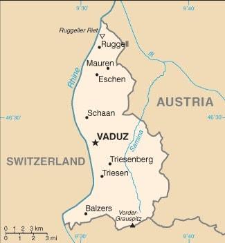 Generalized map of Liechtenstein.