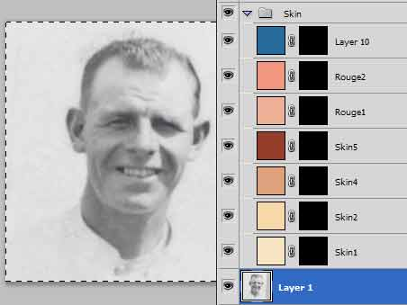 Colourising or tinting an old photo with layers