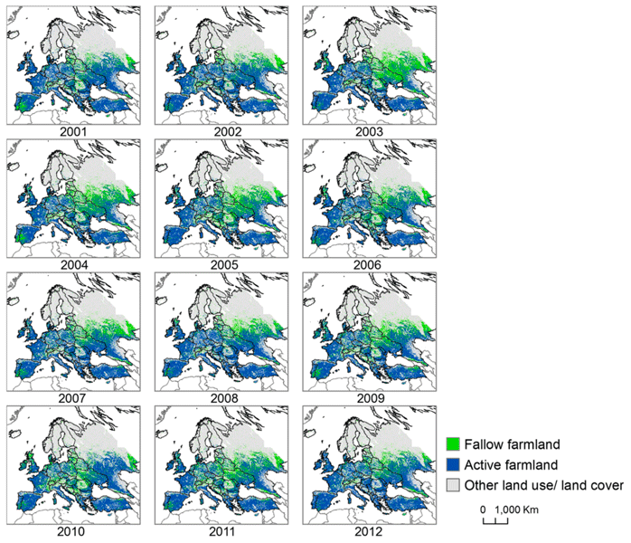 Map time series showing results of NDVI classification of fallow and active farmland across Europe from 2001 to 2012.