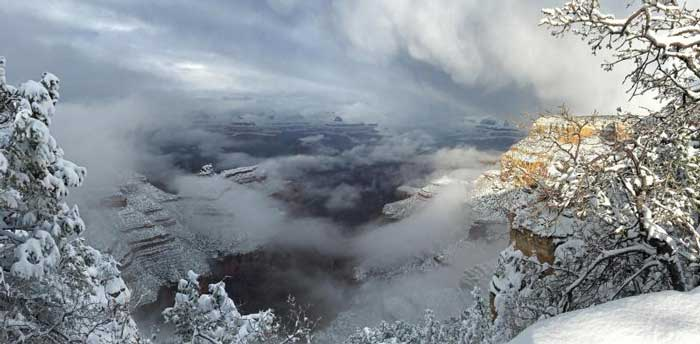 The Grand Canyon is the second most visited National Park in the United States. Wintery scene: Canyon Rim Trail near Grandeur Point, January 2016 NPS/Clayton Hanson.
