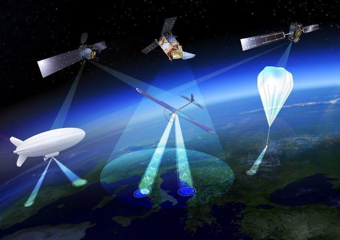 Artistic rendition of High Altitude Pseudo-Satellites, or HAPS. Image: ESA Earth Observation Graphics Bureau