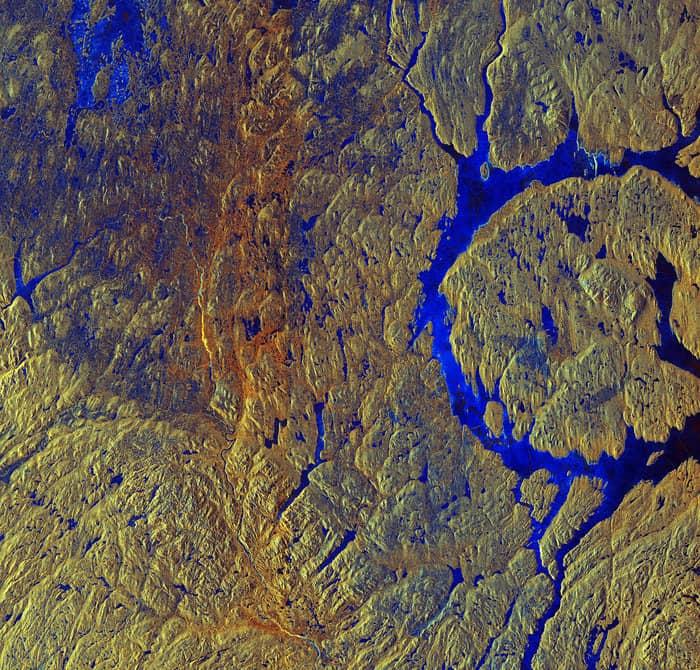Manicouagan Crater in Canada. Source: Copernicus Sentinel data (2015)/ESA