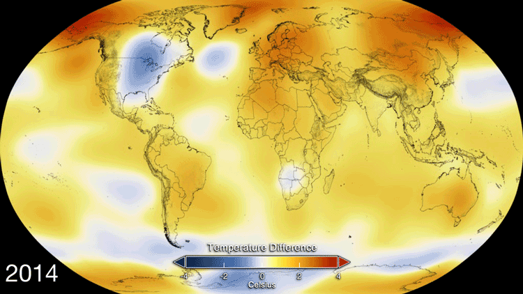 This color-coded map displays global temperature anomaly data from 2014. Credits: NASA's Goddard Space Flight Center