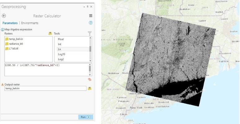 Figure 7: Conversion from radiance to BT in Kelvin in ArcGIS Pro.