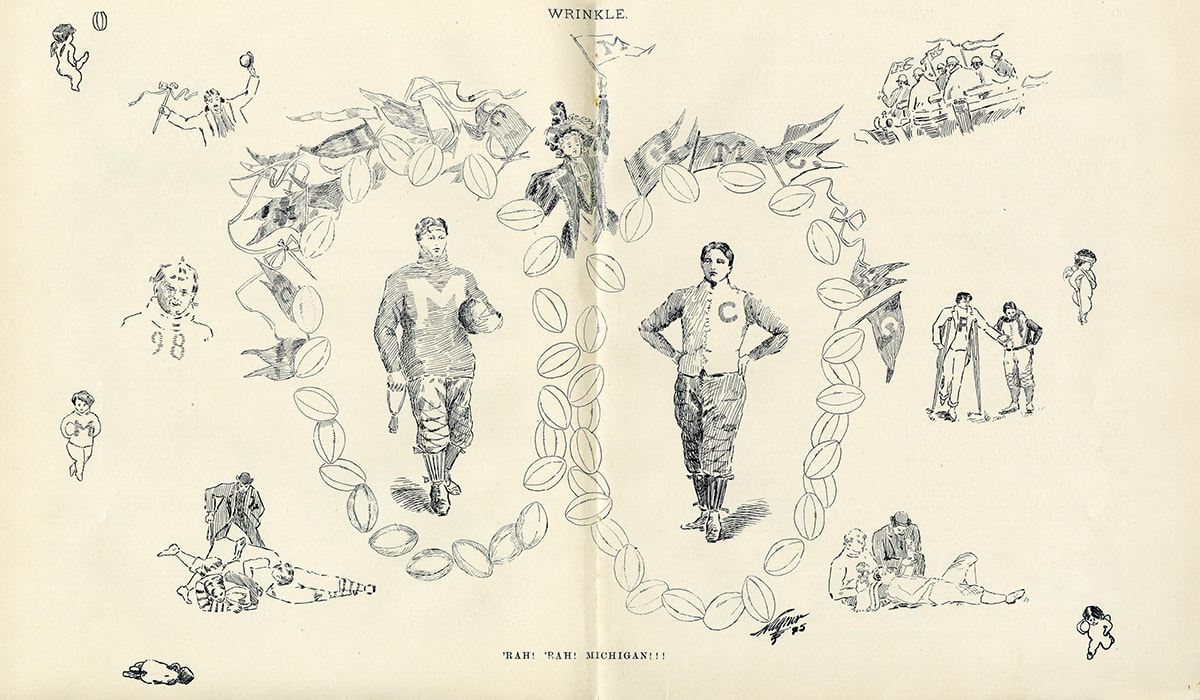 Wrinkle, a U-M student humor magazine of the time,commemorated the 1894 game with this cherub-laden illustration