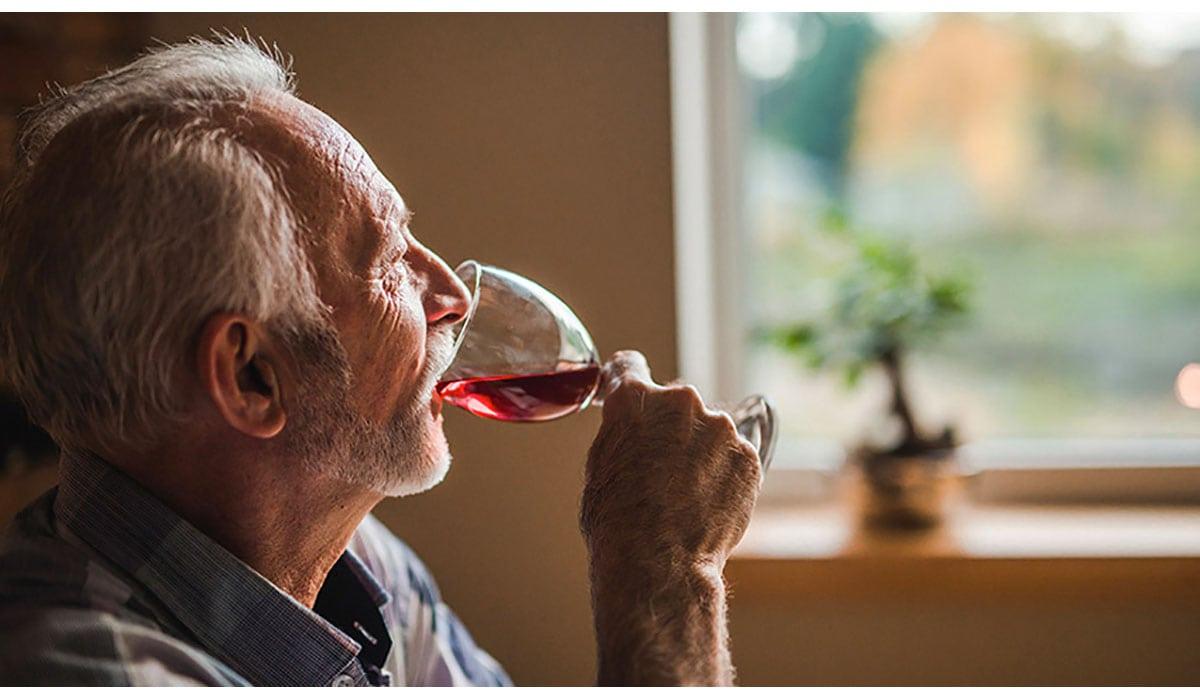 Senior Man Drinking Wine Glass Gatewayextension