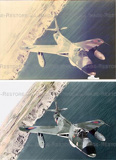 Fully restored colour fade and re-coloured 29inch print Hawker Hunter Mk 6A