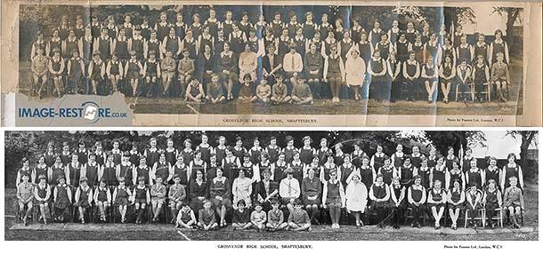 Restoration of panorama school photos.. Grosvenor High School, Shaftesbury.