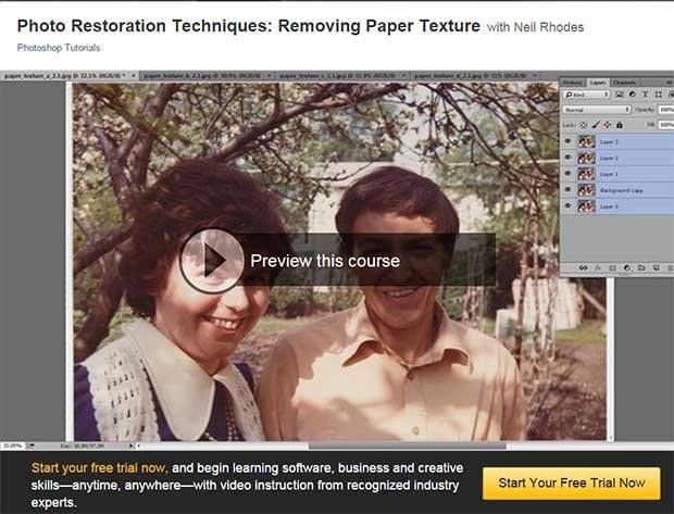 Photo restoration video course removing paper texture