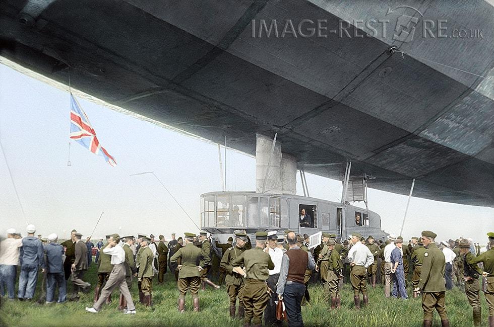 British airship R34 after completing its historic transatlantic flight. Mineola, Long Island, New York, July 6, 1919 - colourized