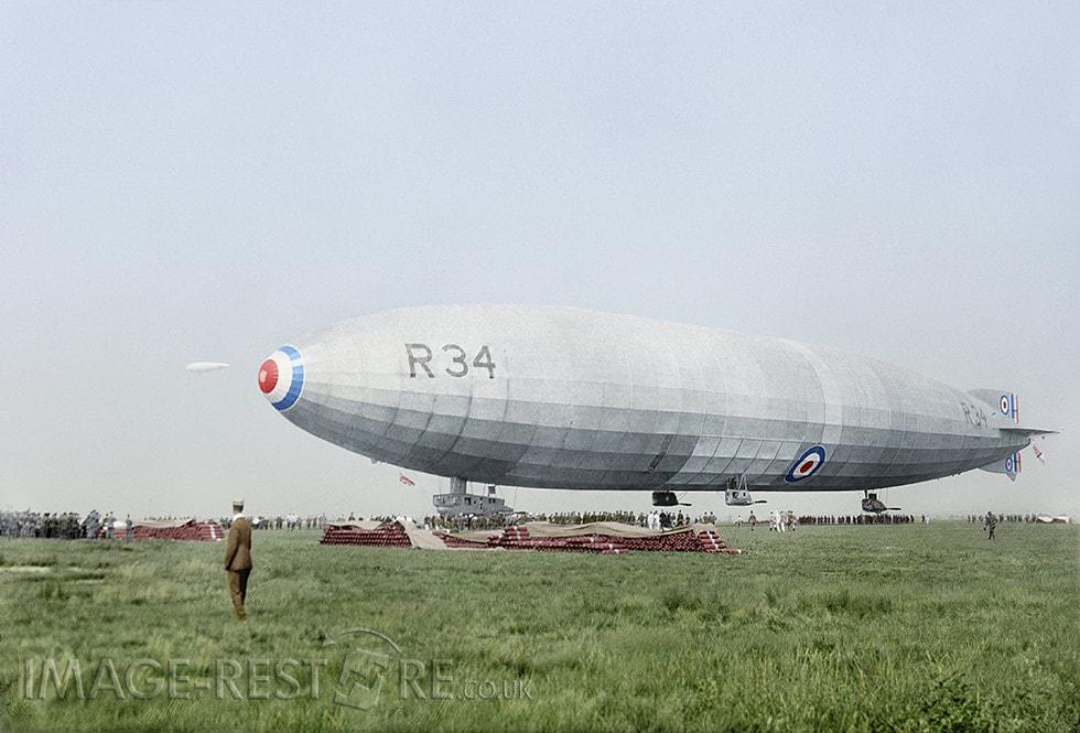 British airship R34 1919 - colourized