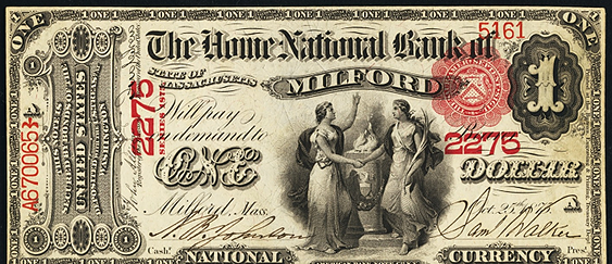 1863 One Dollar Original Series National Bank Note