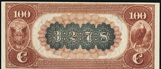 1882 \$100 Brown Back - Back