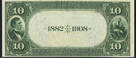1882 \$10 Date Back - Back
