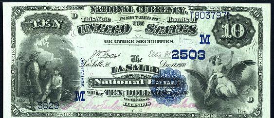 1882 \$10 Value Back - Front