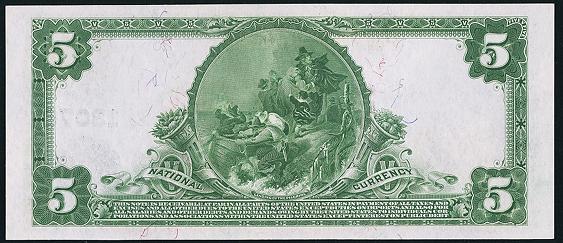 1902 \$5 Plain Back - Back
