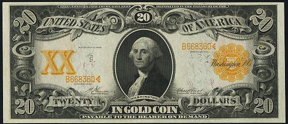 1906 Twenty Dollar Gold Certificate