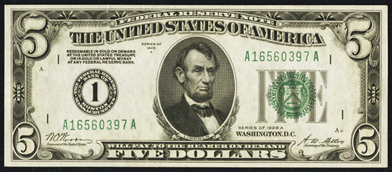 1928a Five Dollar Federal Reserve Note