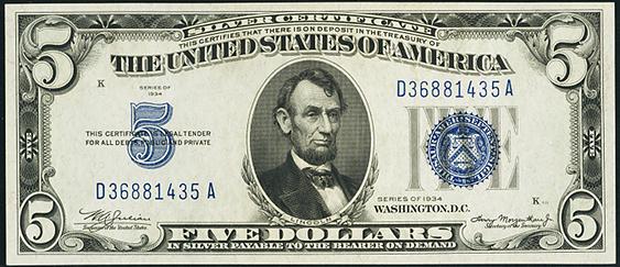 1934 Five Dollar Silver Certificate