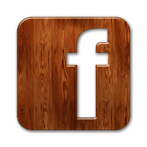 facebook logo wood brown
