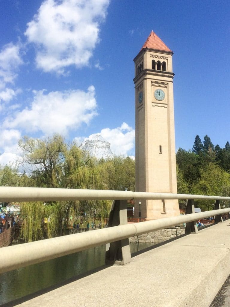 The Clock Tower at Riverfront Park, one of the fun things to do in Spokane, WA for families.
