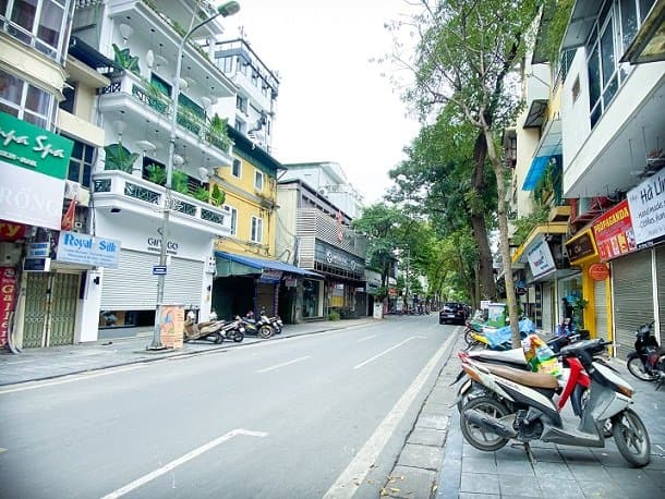 A street in Hanoi, Vietnam, where families can do slow tourism