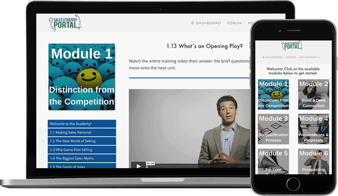 laptop and iPhone with screenshot of corporate training course page and dashboard design